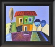 Framed painting of a house